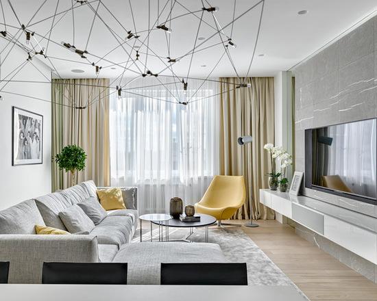 нейтральный оттенок штор в современном стиле