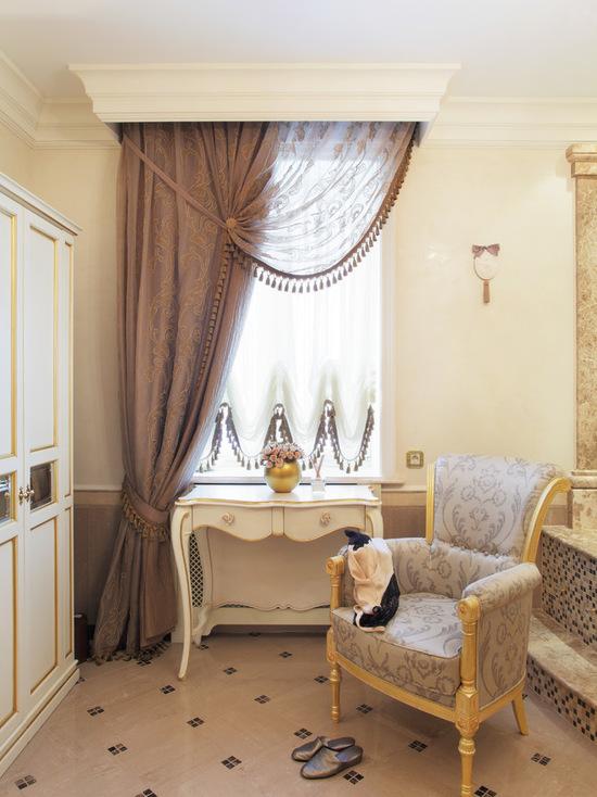 французская штора, тюль и портьера в единой шторной композиции