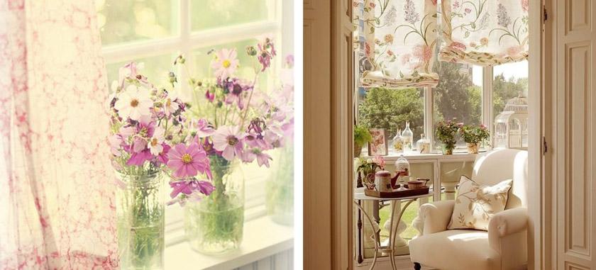 дизайн летних штор с цветочными рисунками
