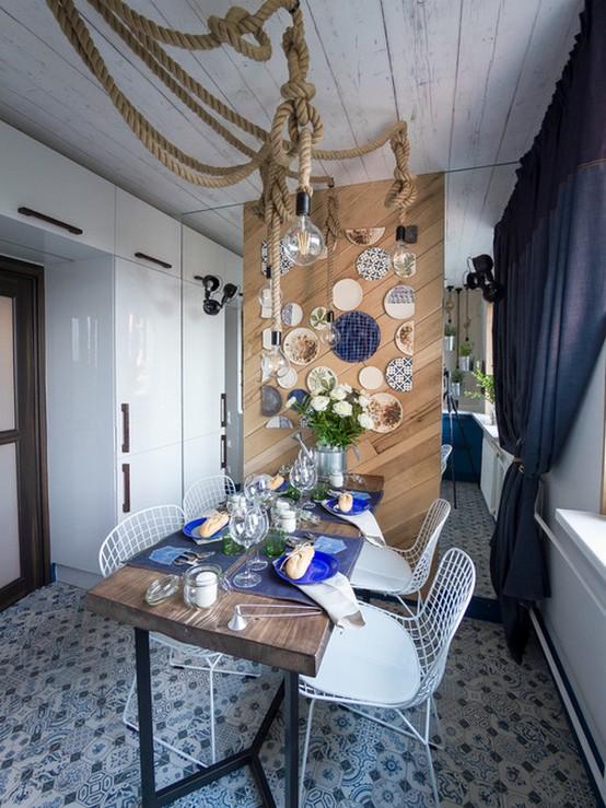 кухня и шторы в морском стиле