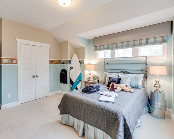 морской стиль в спальной комнате