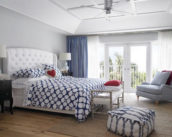 диайн спальной комнаты в морском стиле