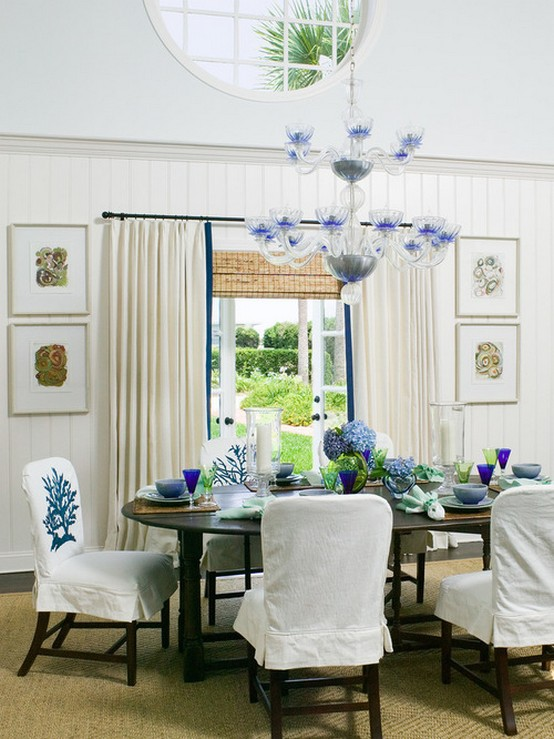 текстиль в морской стиле в столовой