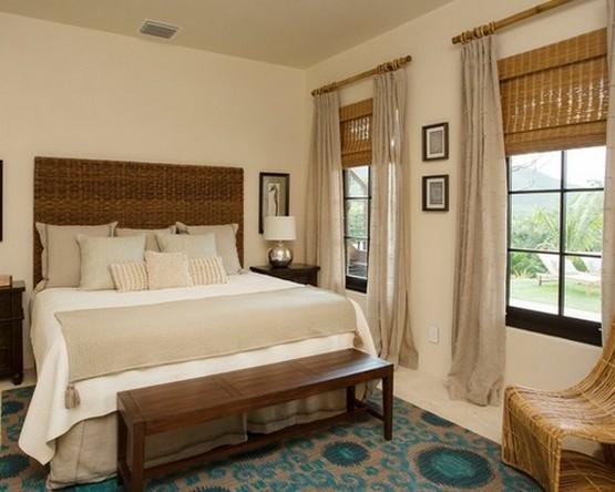 бамбуковые жалюзи в спальне в морском стиле