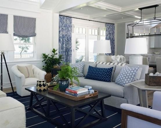 морские шторы в гостиной