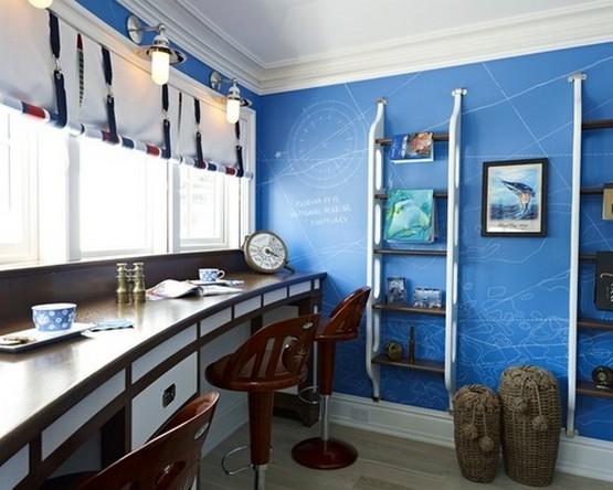 морские шторы в комнате подростка