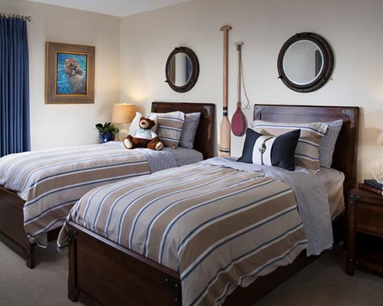спальня и текстильное оформление в морском стиле
