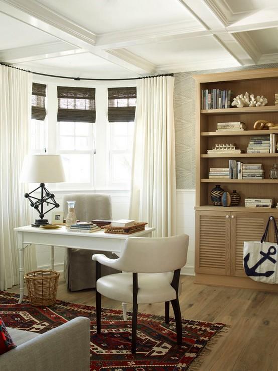 шторы и кабинет в морском стиле