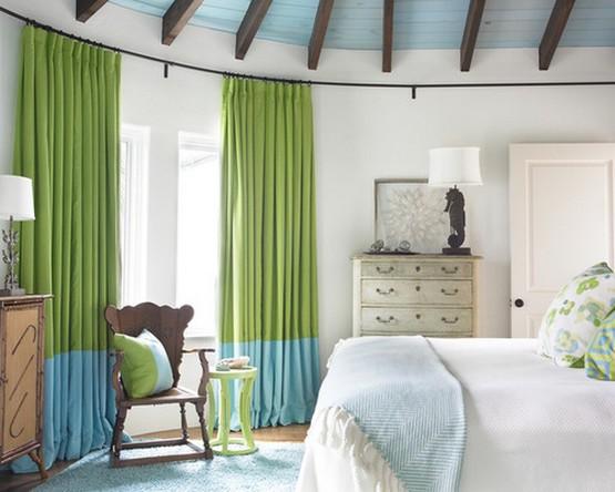 сине-зеленые морские шторы