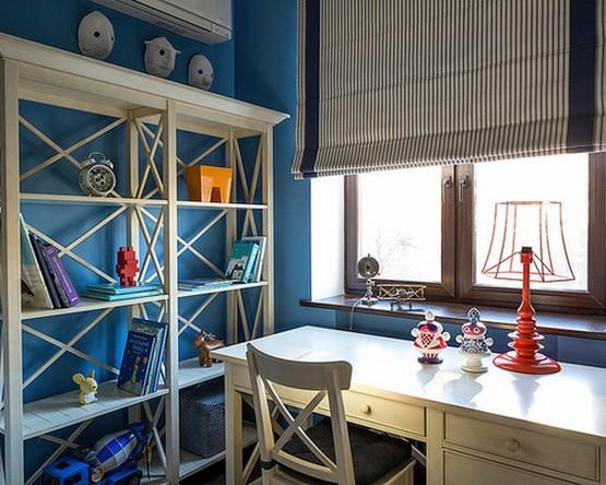 римская штора в морском стиле в комнате подростка