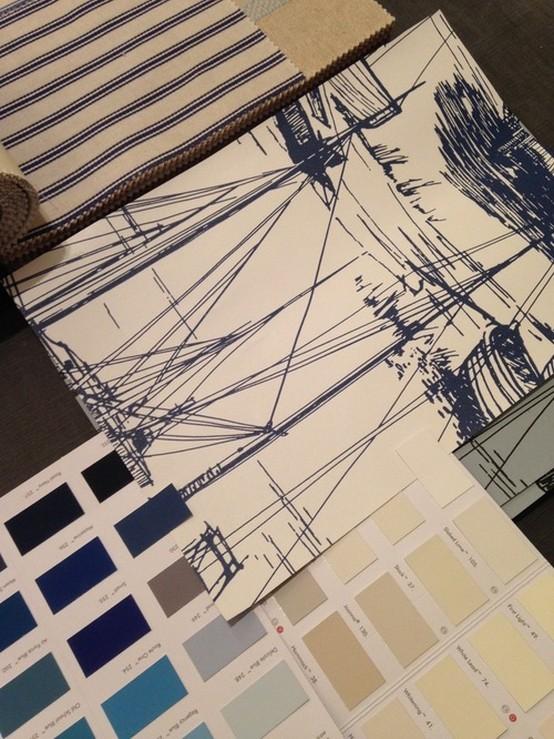 ткань с морским рисунком для штор