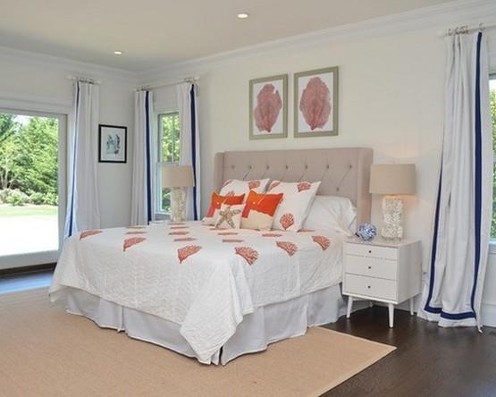 шторы для спальни в морском стиле