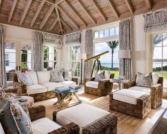 гостиная и тексьиль в морском стиле