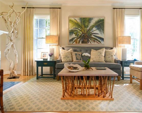 шторы в морском стиле в интерьере гостиной