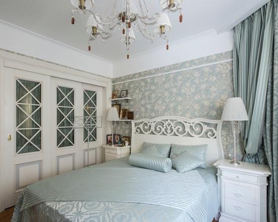 шторы из ткани жаккард в спальной комнате