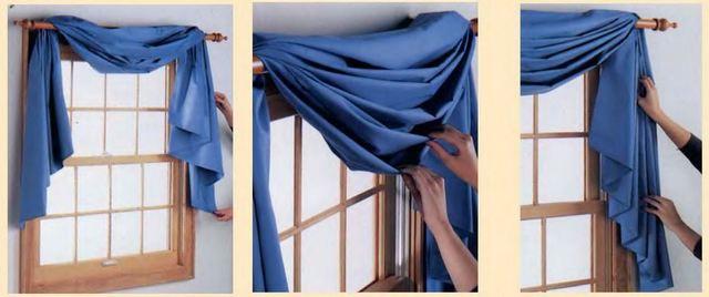 свободная драпировка штор на карнизе