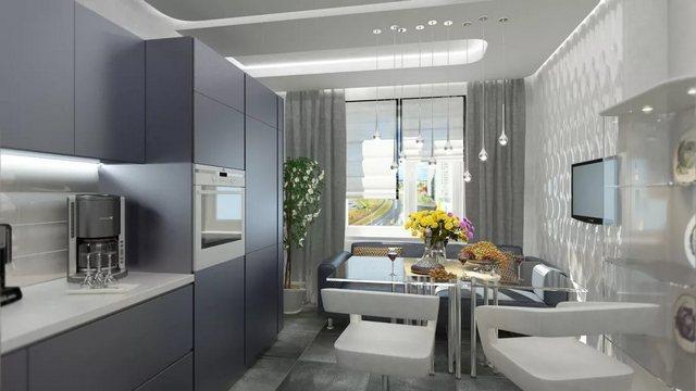 сочетание римской шторы и портьер в кухне хай тек