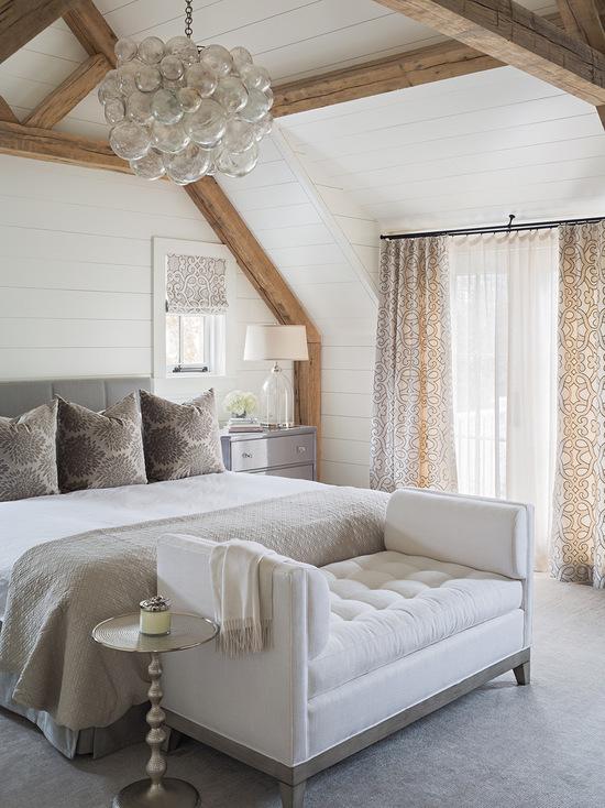 римские штора и тюль в спальной комнате