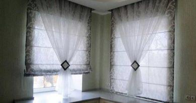 сочетание римской шторы и тюля
