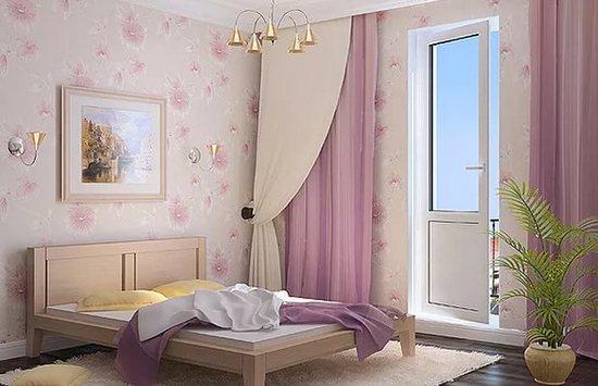 фото штор в спальне с выходом на лоджию