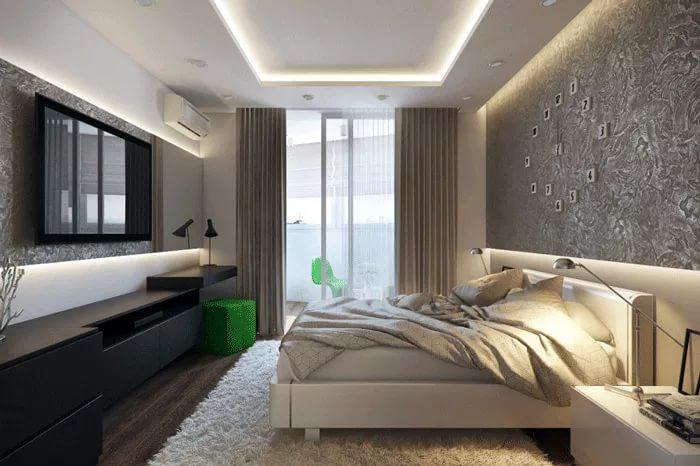 фото портьер в спальне с балконом