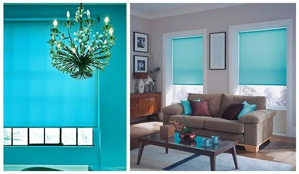 бирюзовые светофильтры на окнах в комнате
