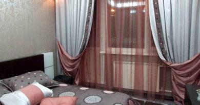 двухсторонние портьеры в спальне
