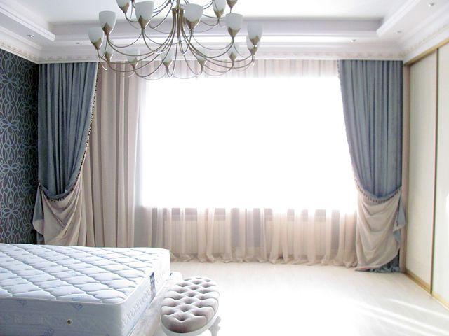 двухстронние шторы с тюлем в спальне