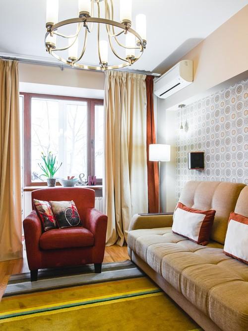 двойные контрастные шторы в гостиной