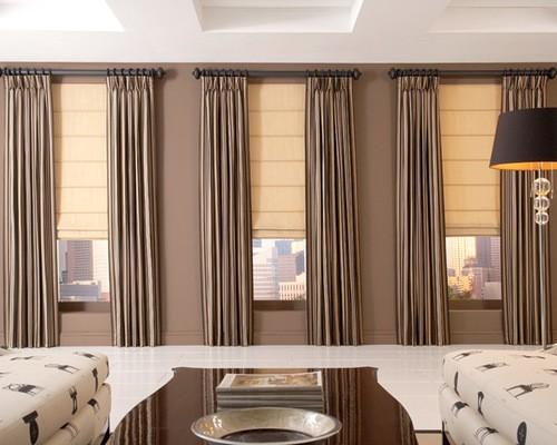 римские шторы с плотными портьерами