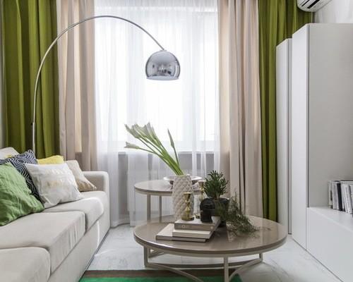 двойные шторы бежево-зеленых цветов