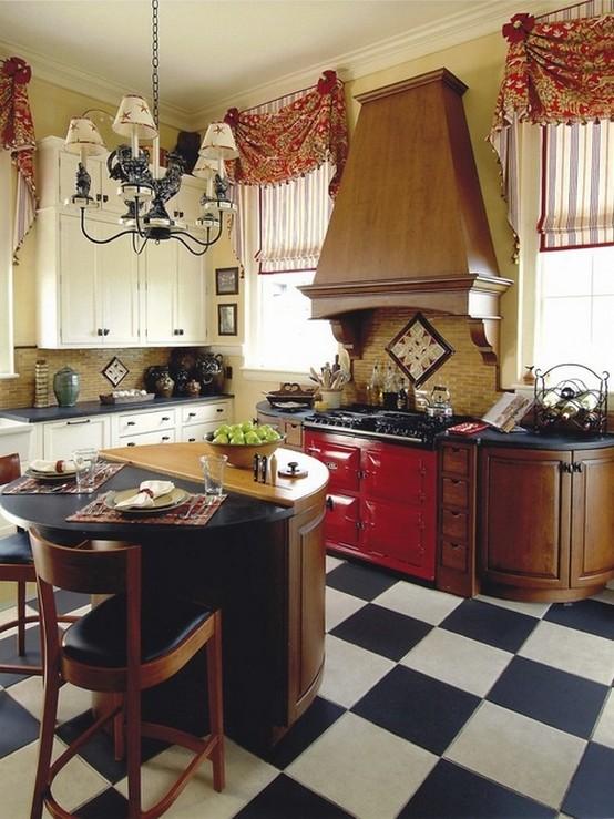 красные шторы в кухне в классическом стиле