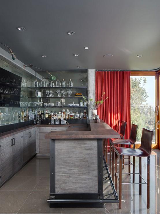красные занавески на кухне