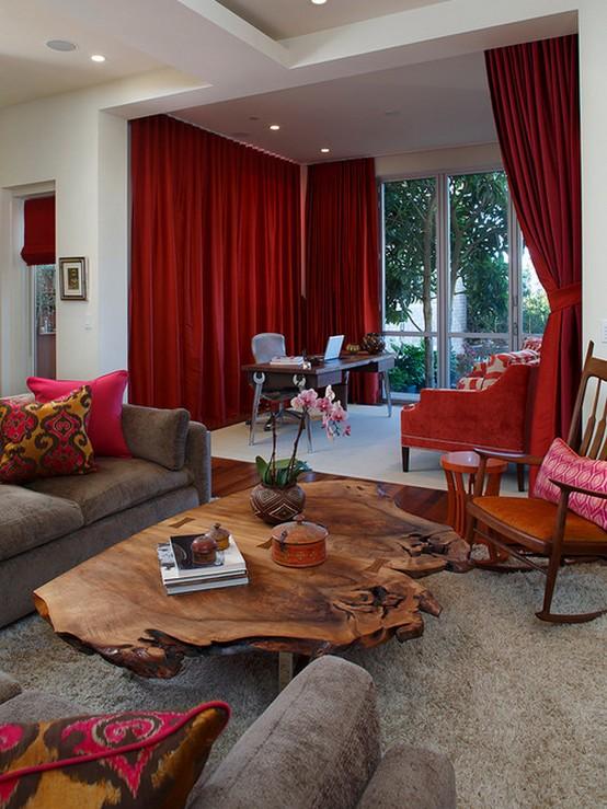гостиная в стиле модерн с красными шторами