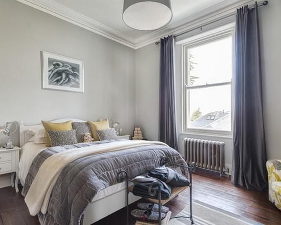 ночные портьеры в спальне в скандинавском стиле