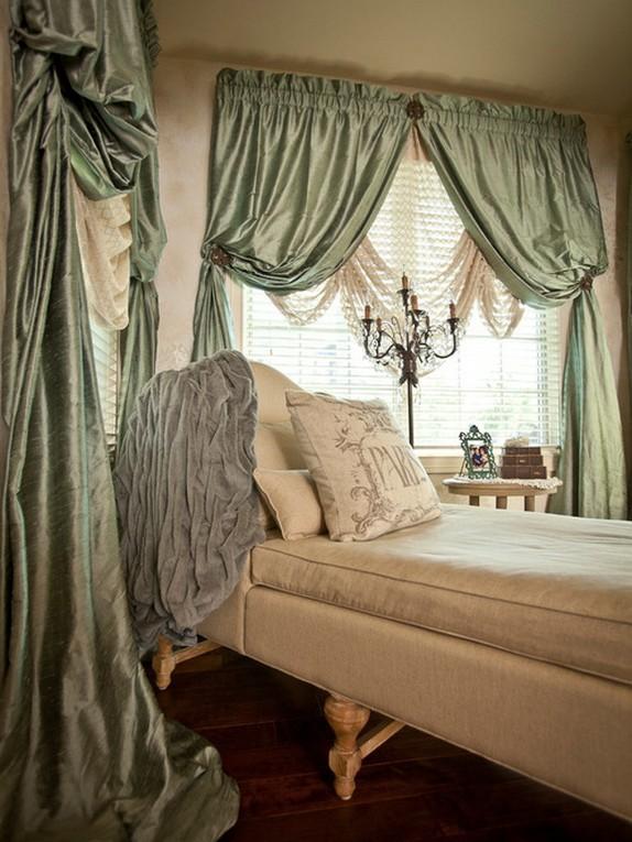 светло-зеленые ночные шторы для спальной комнаты