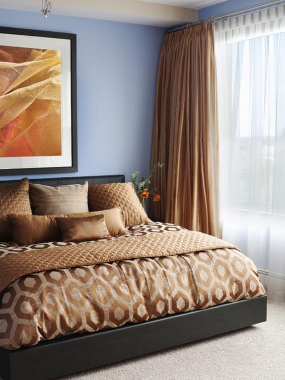 оранжево-коричневые ночные шторы