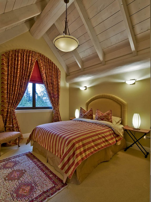 красные ночные шторы из бархата с узором