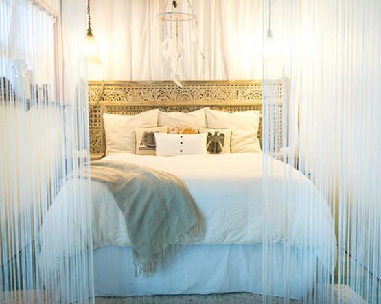 нитяной балдахин над кроватью