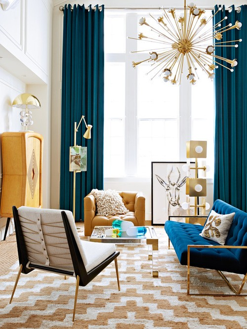 портьеры аквамариного цвета в гостиной