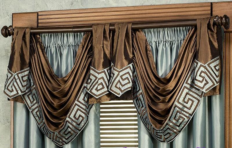 шелковые ламбрекены для штор в стиле арт-деко
