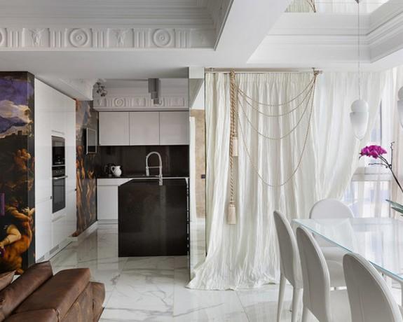 легкие шторы в стиле ар-деко с подхватами из золотого шнура