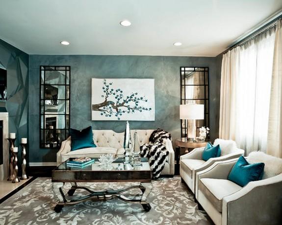 яркие бирбзовые акценты в гостиной в стиле арт-деко