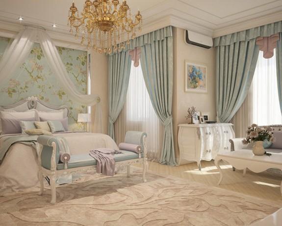 портьеры в стиле арт-деко в спальне