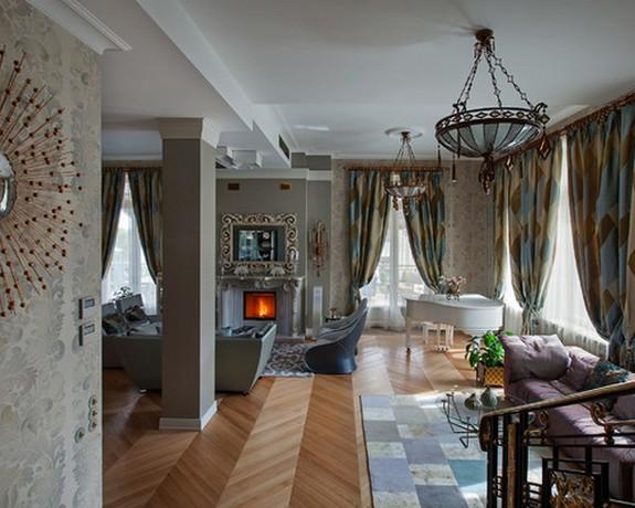 шторы в стиле арт-деко в гостиной