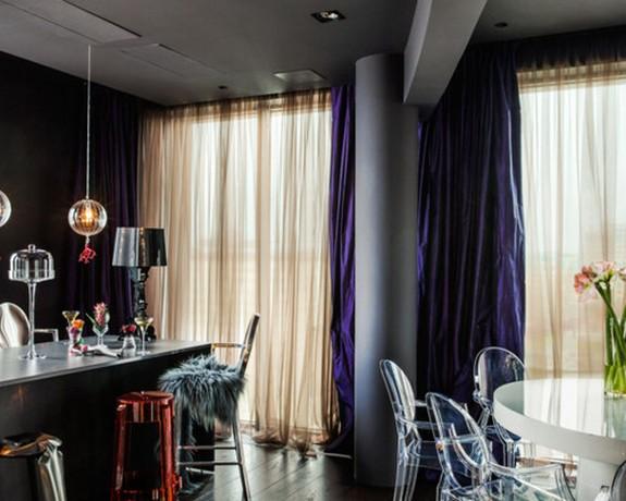 сине-сиреневые шторы в стиле ар-деко