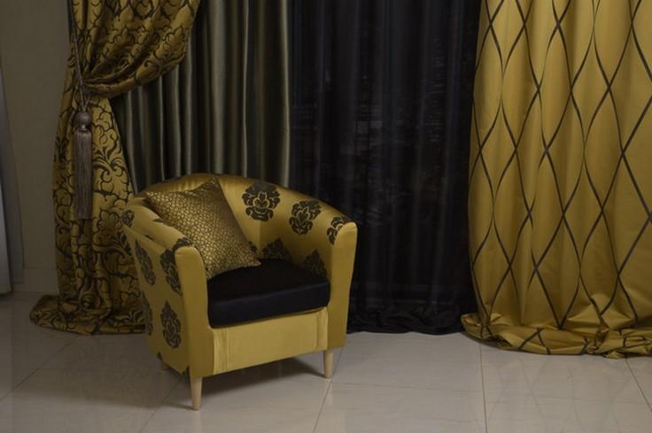 золотые и черные цвета в шторах в стиле арт деко