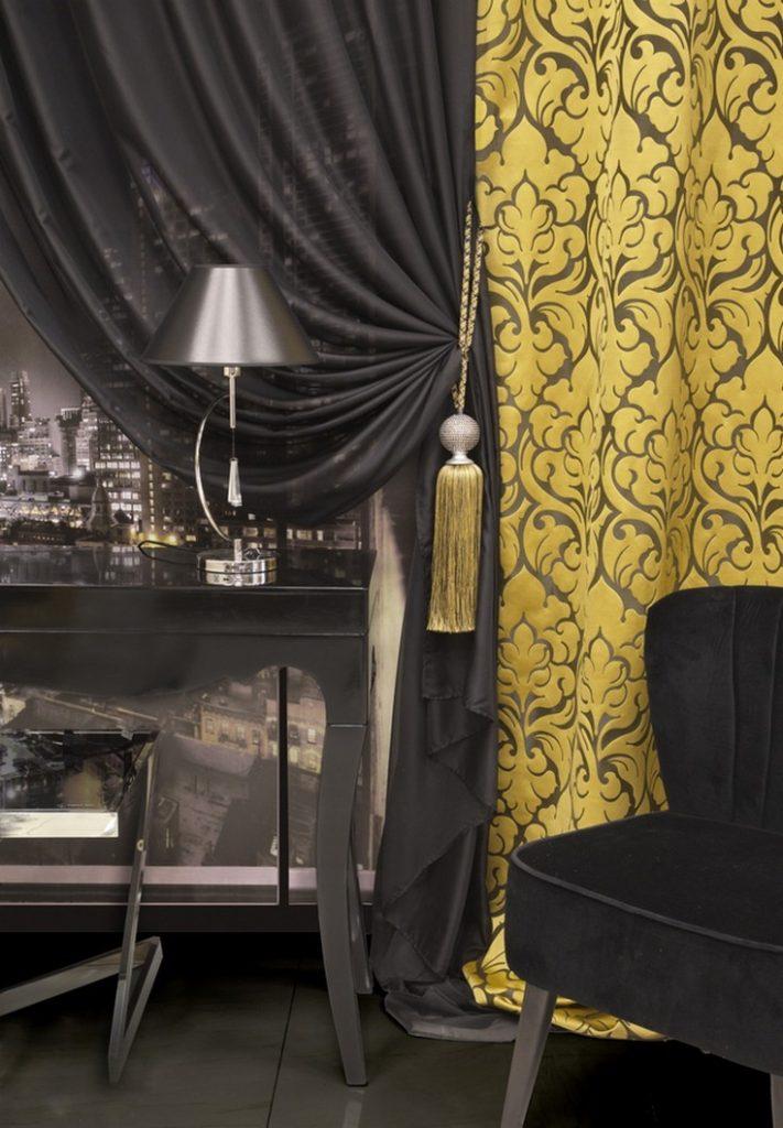 черн-золотое оформление штор арт деко