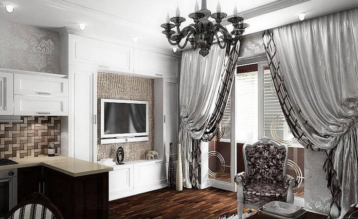 черно-белые портьеры в стиле арт-деко