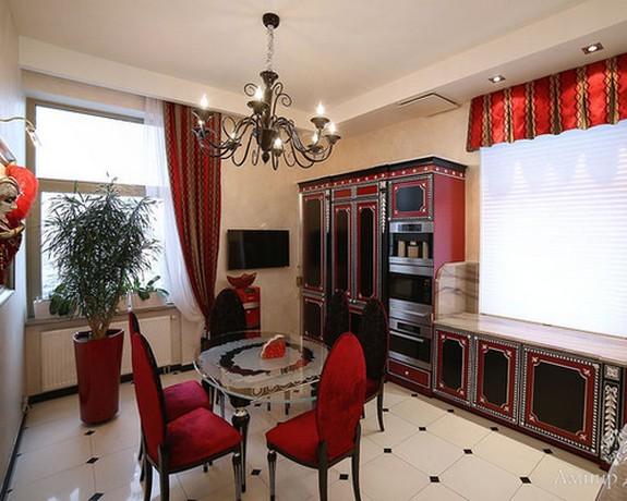 красные шторы в кухне в стиле арт-деко